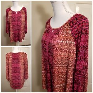 Dress Barn BoHo Tunic Embroidered Keyhole Neck XL